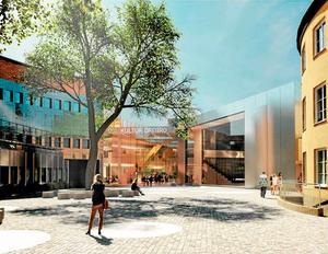 Skiss på kulturkvarteret. Wingårdhs vinnande förslag. Här är riksbankshuset inritad i de nya husen som ska byggas. Illustration Wingårdhs arkitektkontor AB.
