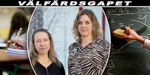 – Vi får trolla med knäna, säger läraren Jenny Söderlund (till höger). Hon och kollegan Ami Verkkoperä märker av besparingarna i skolan.