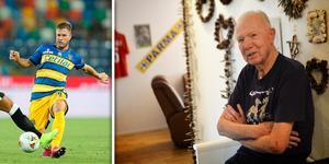 Torgny Svensson nåddes under onsdagen av beskedet att hans barnbarn är uttagen i det svenska fotbollslandslaget. Bild: TT/Andreas Lidén.