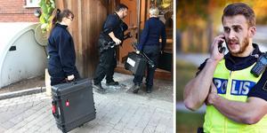 Polisens hela organisation fick fullt upp efter händelserna på Pettersberg; poliserna i yttre tjänst ingrep under natten och förde misstänkta till förhör och sedan blev det dags för (t v) polisens tekniker att arbeta och (t h) för polisens presstalesperson Johan Thalberg att besvara samtal från media.
