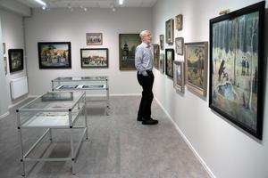 Förutom målningar av fäbodar, gårdar och Knåda marknad visar Edsbyns museum fram till den 3 mars en hel del andra motiv som Olof Nilsson har målat.