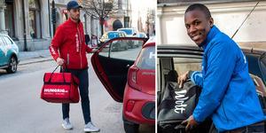 Jordan Benair på Hungrig och Jonathan Umukoro på Wolt levererar mat.