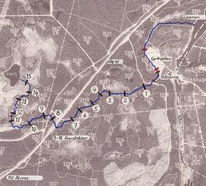 Här är en karta över Valvtjärnsbäcken som visar de olika mätplatserna