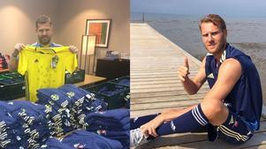 Till vänster: Materialare Roger. Till höger: Ola Toivonen ute på rehabjogg.