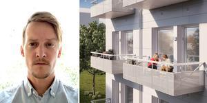Richard Lantz, projektuvecklingschef vid Amasten, berättar att en byggstart för Riki-husen vid Sörliden är nära. Foto/Skiss: Amasten