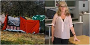 Helén Lind Jaktlund från Pingstkyrkans sociala center i Södertälje hjälper stadens hemlösa med mat och stöd.