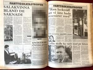 """SA torsdagen den 29 september 1994. Bilden på den saknade kvinnan är nu maskerad, något som inte gjordes då. """"Jag minns att anhöriga reagerade starkt på den"""", säger Peter Gergely."""