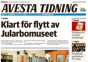 Faksimil ur Avesta Tidning 17 september 2018.