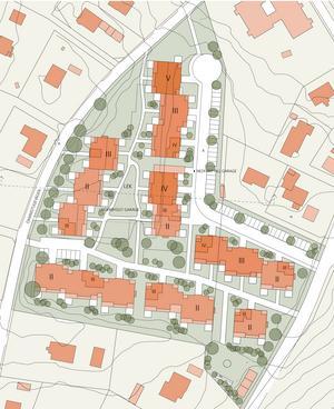 Så här ser planen för gamla IP ut. Femvåningshuset ligger i norr och fyravåningshuset i mitten. De romerska siffrorna anger antalet våningar. Gammeltorps förskola syns i bildens övre kant, Dammstugevägen går till vänster och Gammeltorpsvägen till höger. Illustration: E/S-A arkitekter