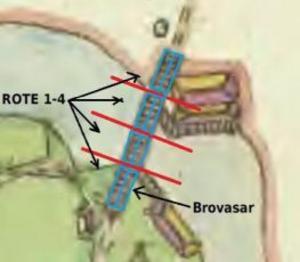 Järle bro.  Illustrationen visar ansvarsdelningen för brons underhåll 1790,  rote och brovasar. Karta: © Lantmäteriet