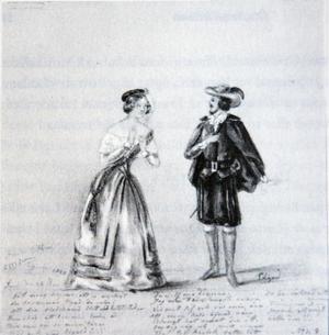 En an prinsessan Eugenies teckningar från operascenen som hon gjorde som 10-åring. Jenny Lind som Lucia i Donizettis opera