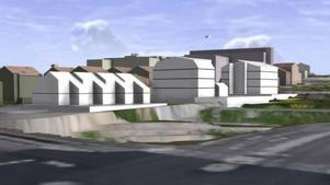 Foto: skärmklipp falun.seDe tre bostadshusen sett från rondellen som ansluter Trotzgatan med Korsnäsvägen.