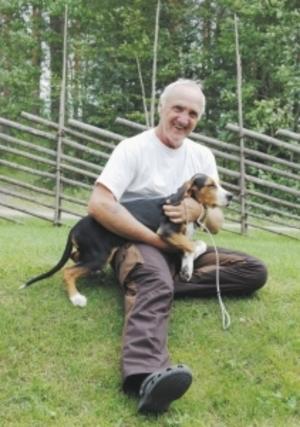 Om allt går som det är tänkt ska finnstövaren Turbo bli en riktigt bra harhund. Men än så länge är det skönt att sitta i husse Björn Östlins knä.