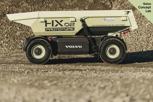 HX02 är en eldriven, förarlös dumper under utveckling. Foto: Volvo CE