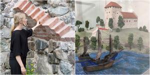 Emma Tibblin visar den välvda strukturen i stridstornets källare som delvis återuppbyggts för att visa hur det en gång såg ut. Intill en modell av Telgehus så som man trott att den såg ut innan man insåg att väggarna i själva verket var av tegel.