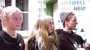 Unga åhörare på föreläsningen var, från vänster, Nora Jonsson, Anja Ågran och Arvid Jonsson. Foto: Kerstin Åsbo