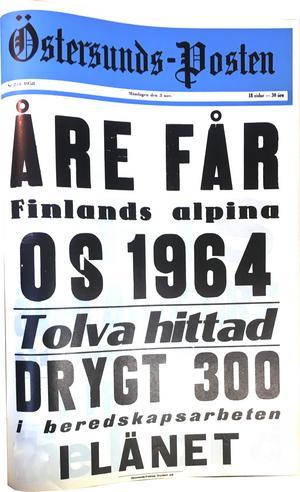 Östersunds-Postens löpsedel 3 november 1958.