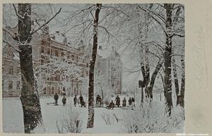Vinter i Oskarsparken, 1900-tal. Foto: Axel Barr, Örebro