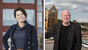 Nykvarns kommuns kommunikationschef Susanne Stamreus och kommunstyrelseordförande Bob Wållberg (NP). Foto: Mattias Holgersson och Peter Johansson