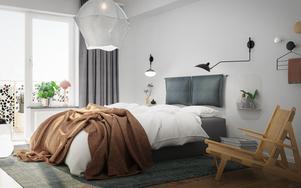Exempelbild sovrum. Illustration: Telge bostäder