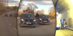 Peter följer aldrig efter bilar i avsikt att försöka få en bra video och har inte behövt anmäla någon med hjälp av dem. Däremot tvingas han då och då ringa polisen i syfte att stoppa misstänkta rattfyllerister. Bilder: Volvo dashcam.