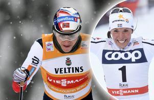 Norska stjärnan Heidi Weng och Charlotte Kalla. Bild: TT Nyhetsbyrån.