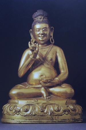 En staty som föreställer Tsangnyön Heruka, troligen 500 år gammal.