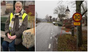 Ylwa Karlsson noterar ofta bilar som kör alldeles för fort förbi Ytterenhörna kyrka.