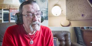 """Folke Lindqvist får sitta med hörlurar på sig på dagtid när lägenheten ovanför renoveras och badrumstaket har rasat in på flera ställen. """"Ska jag behöva lida för att de renoverar?"""