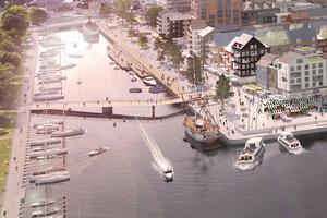 Ett utsnitt ur Norrrtälje hamns visionsbild. Illustration: Norrtälje kommun och Sydväst landskap och arkitektur