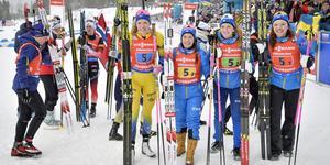 Det svenska silverlaget framför hemmapubliken i Östersund. Bild: Jessica Gow/TT