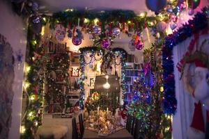 Hemma hos denna familj plockas pyntet fram redan i oktober för att allt skall vara på plats till den årliga julfesten i mitten av december.