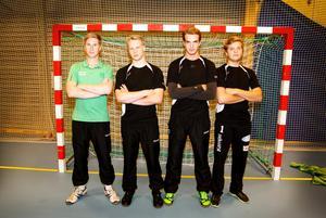 Andreas Mattsson, Jonatan Widgren, Marcus Wesslund och Victor Hellström utgör Rimbo HK:s målvaktskvartett den här säsongen.
