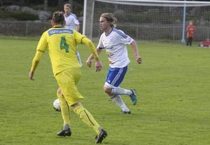 Iggesunds Fredrik Rahm, sekunderna innan han laddade in 2–1 med högerfoten.
