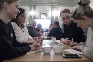 Anna Johansson, Bia Folkesson, Annika Nilsson och Caroline Botström var några av alla de som var med företagarträffen. Toppenbra initiativ tycker de.