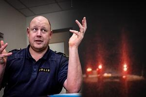 Johan Alm, trafikpolischef i Dalarna, och bussen. Bilden är ett montage.