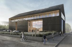 Den nya domstolsbyggnaden i Hudiksvall, av arkitekt Yellon, förväntas stå klar hösten 2022. Foto: Yellon.