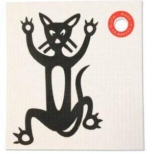 Disktrasa att torka med behövs också. Denna med passande kattmotiv har ett praktiskt hål så du kan hänga upp den. Finns hos bluebox.se och kostar 29 kronor.