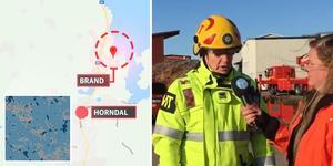 Brand i en industribyggnad tillhörande sågverket i Horndal.
