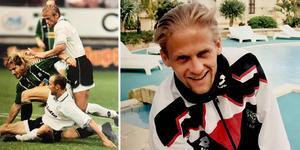 Siggi Jonsson och Hlynur Birgisson i en närkamp under Uefa cup-matchen mot Rotor Volgograd hösten 1997.