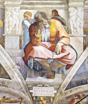 Michelangelos Jeremia i Sixtinska kapellet, målad 1512.