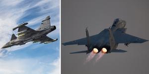 På bilden syns ett Jas 39 Gripen och ett F-15 Eagle.