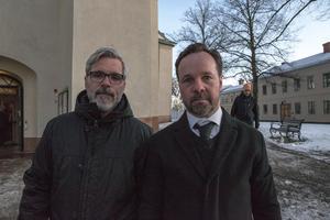 Lokala fotbollsprofilerna Thomas Friberg och Jonas Liw.
