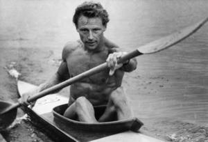 Gert Fredriksson varvar ner efter sin seger på K1/10.000 meter vid OS i London, 1948. Senare under spelen vann Fredriksson även K1/1 000 meter. Foto: TT