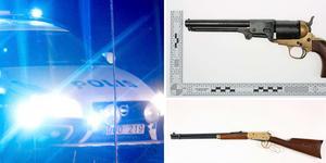 Revolvern och hagelgeväret, som mannen misstänks ha avlossat.