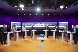 Bild från Agendas partiledardebatt i SVT inför valet 2018. Från vänster; Stefan Löfven (S), Isabella Lövin (MP), Annie Lööf (C), Jan Björklund (L), Jonas Sjöstedt (V), Jimmie Åkesson (SD), Ebba Buch Thor (KD) och Ulf Kristersson (M). Foto Henrik Montgomery / TT