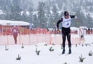 Adam Steen från Falun knöt näven i en segergest när han gick över mållinjen som trea.