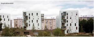 Så här skulle de nya husen som Telge bostäder vill bygga i Fornbacken kunna se ut.Skiss: Telge bostäder