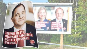 Valaffischen på statsminister Stefan Löfven blev inte medvetet bortplockad – den blåste bort och ersattes därför, förklarar Roger Sandström, ansvarig för affischeringen i Nätra.