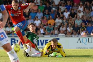 Jakob Orlov och Jönköpings Södra hade det tufft i omstarten mot Helsingborg, som vann med 3-1 på Stadsparksvallen.